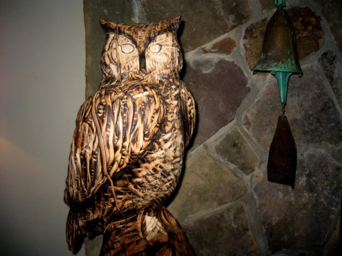 New owl sculpture in reclaimed Hemlock