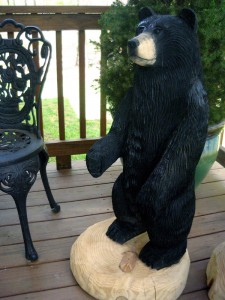 Chainsaw Bear, Lucinda, holding arm