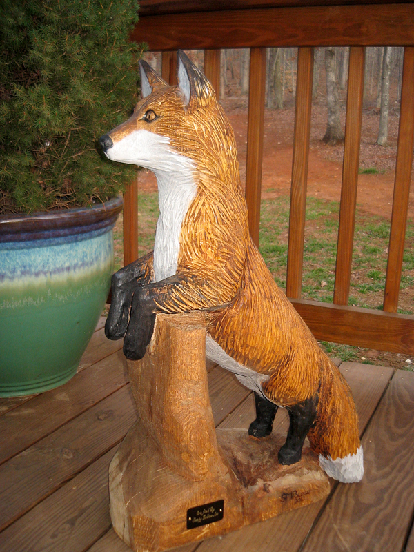 Sleepy hollow art wildlife wood sculpture