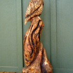 Owl wood carving in reclaimed Hemlock