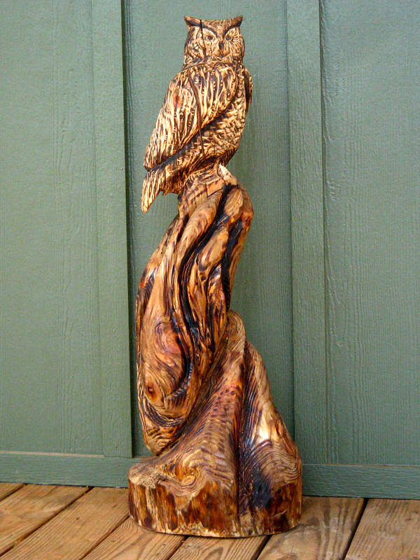 Sleepy hollow art wildlife wood sculpture