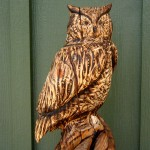 Owl, body detail, wood carving in reclaimed Hemlock