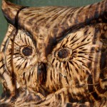 Owl, face detail, wood carving in reclaimed Hemlock