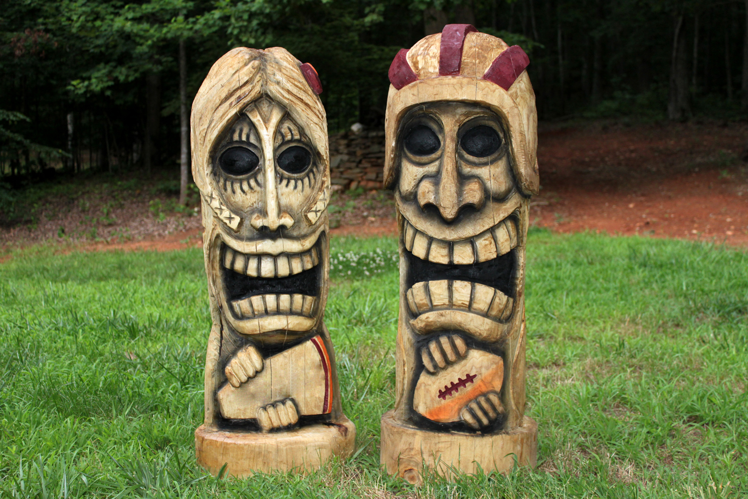 Football player and cheerleader tikis