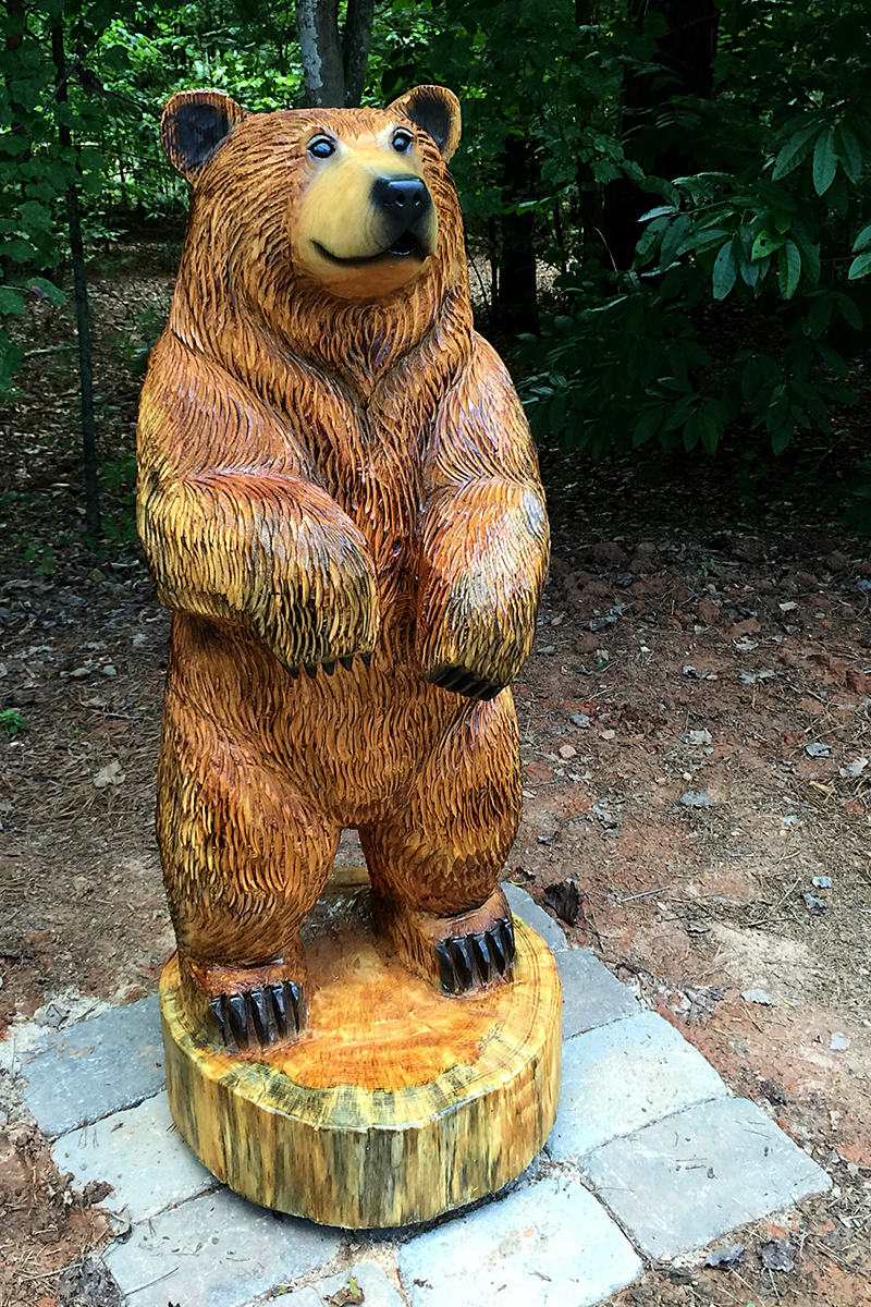 Brown bear sculpture for the fire pit sleepy hollow art