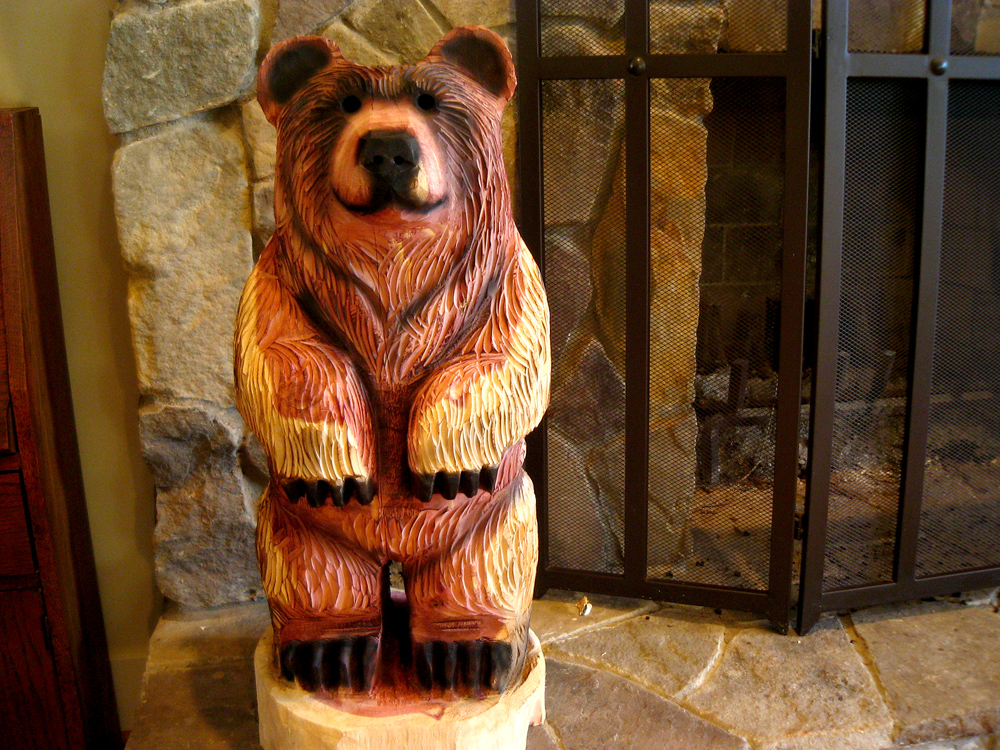Here is another pair of bear cubs: Coal, a black bear carved from pine ...