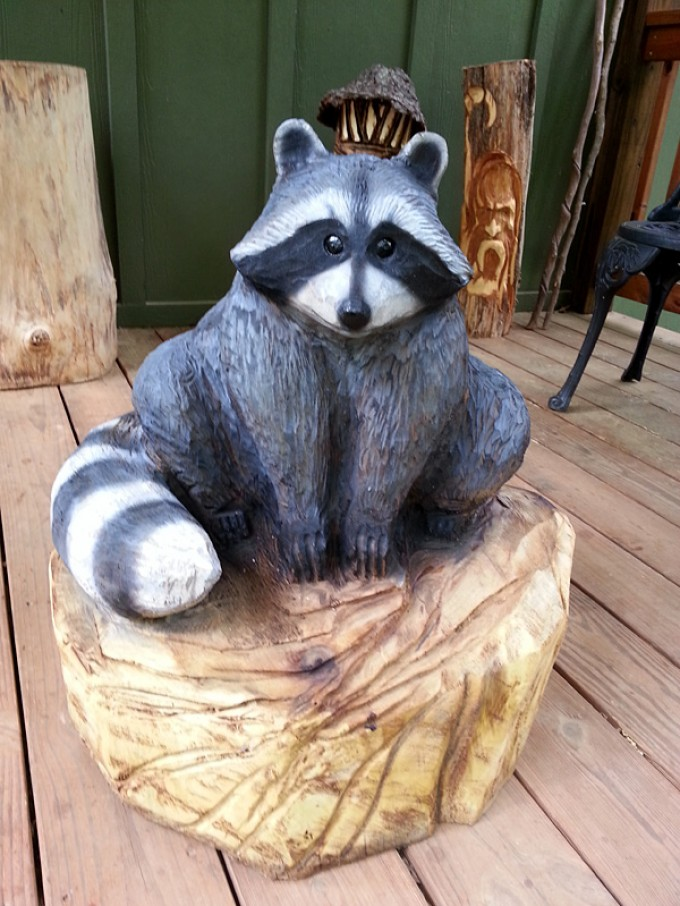 Mark carved this adorable round gray raccoon as a gift for the client ...