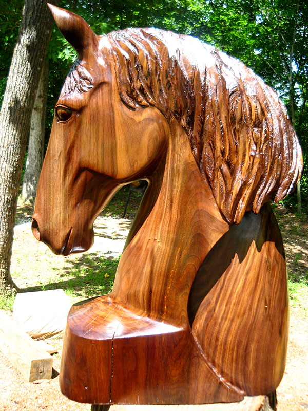 Horse head with arc in walnut wood sleepy hollow art