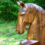Walnut Wood Horse Head Sculpture