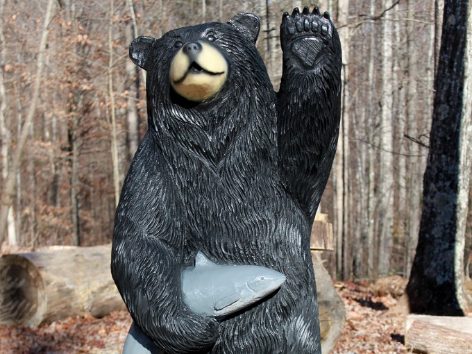 Waving Black Bear with Catfish